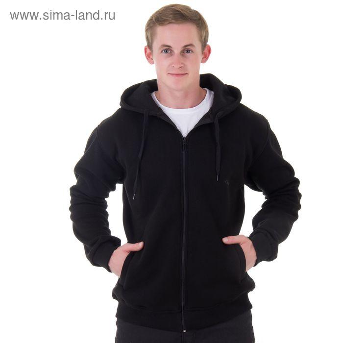Джемпер-толстовка мужской с капюшоном на молнии арт.941, цвет чёрный, р-р 5XL