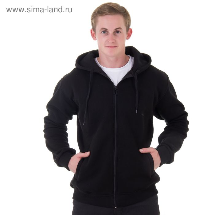 Джемпер-толстовка мужской с капюшоном на молнии арт.941, цвет чёрный, р-р 6XL