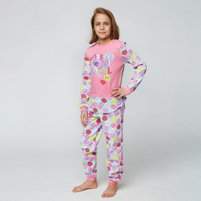 Пижама для девочки, рост 128 см (64), цвет розовый CAJ 5257_Д