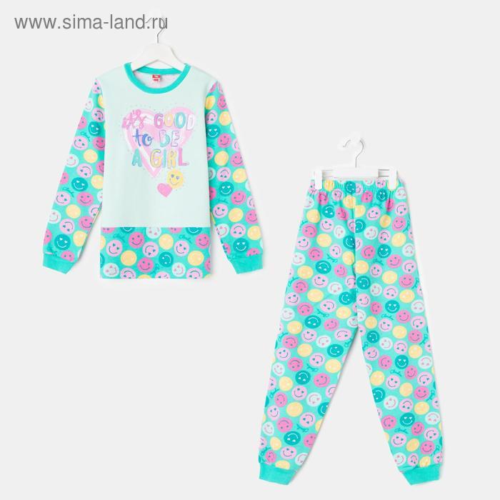 Пижама для девочки, рост 134 см (68), цвет бирюзовый CAJ 5257_Д