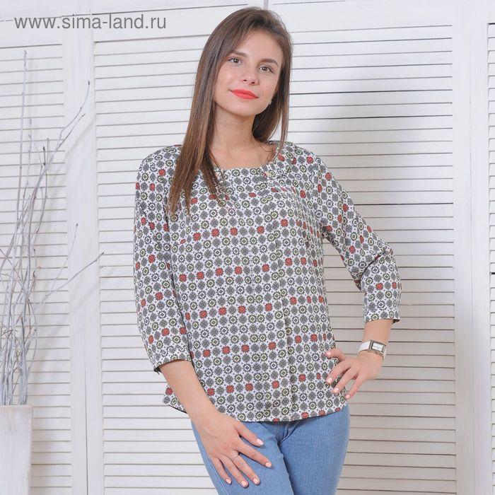 Блуза 5175, размер 48, рост 164 см, цвет белый/серый/зеленый