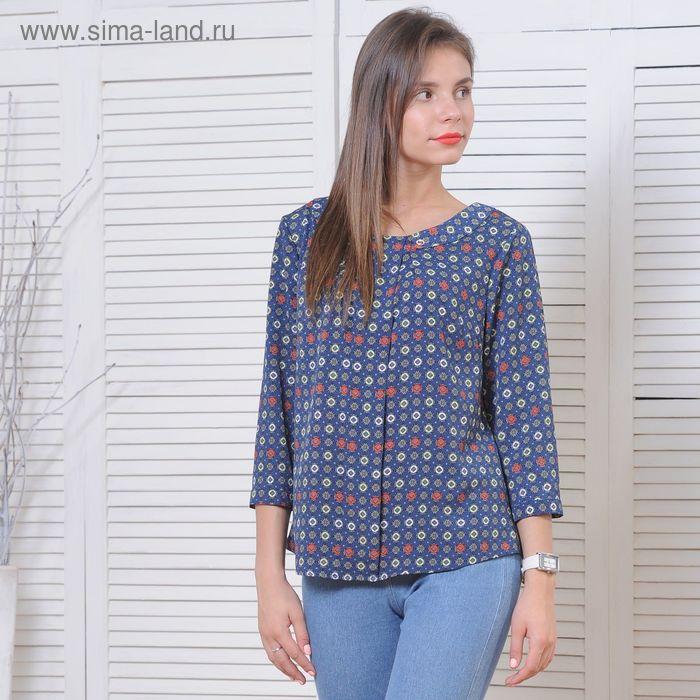 Блуза 5175а С+, размер 52, рост 164 см, цвет т.синий/серый/красный