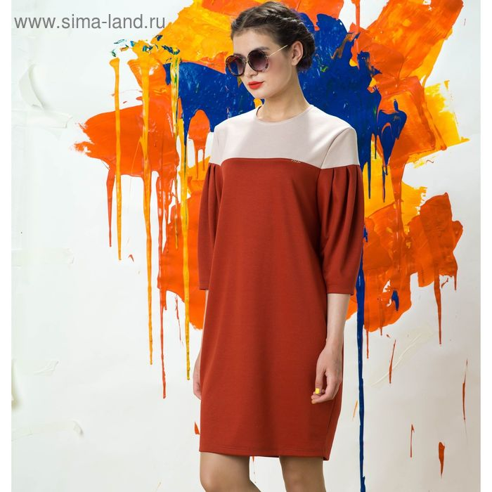 Платье 5074, размер 48, рост 164 см, цвет кирпичный/бежевый