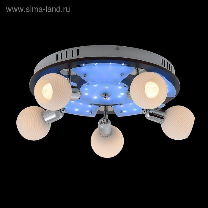 "Люстра ""Космос"" 5 ламп 60W Е14 хром/темное дерево"