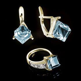 """Гарнитур 2 предмета: серьги, кольцо """"Куб"""", размер 16, цвет голубой в золоте"""