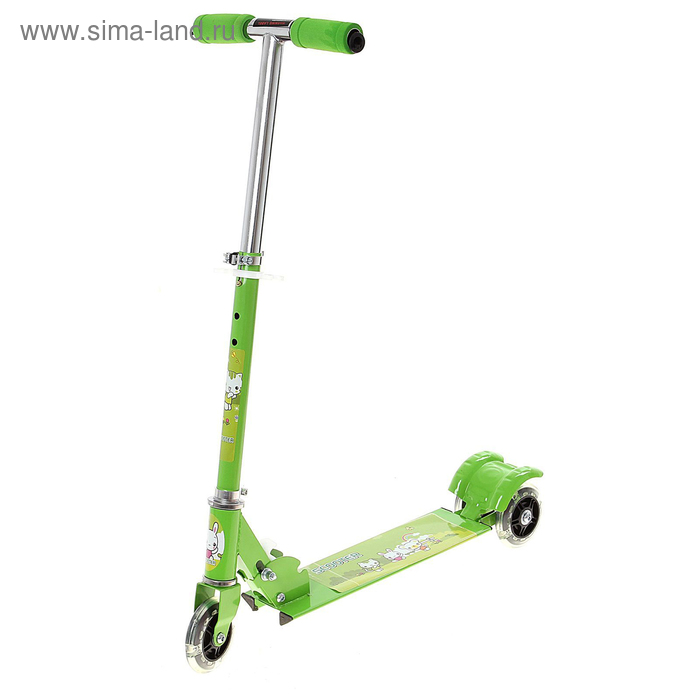Самокат стальной ОТ-508, три колеса PVC d= 100 мм светящиеся, цвет зеленый в пакете