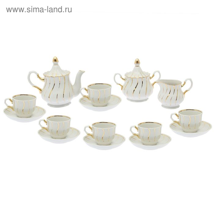 """Сервиз чайный """"Романс. Карнавал"""" 15 предметов: 6 чашек чайных 250 мл, 6 блюдец чайных d=15 см чайник 800 мл, сахарница 550 мл, сливочник чайный 350 мл"""
