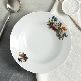 """Тарелка глубокая 20 см """"Идиллия. Букет цветов"""", 230 мл"""