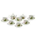 """Сервиз чайный """"Кирмаш. Ромашка (цитрон)"""", 14 предметов: чайник 550 мл, 6 чашек 250 мл, 6 блюдец d=15 cм, сахарница 450 мл"""