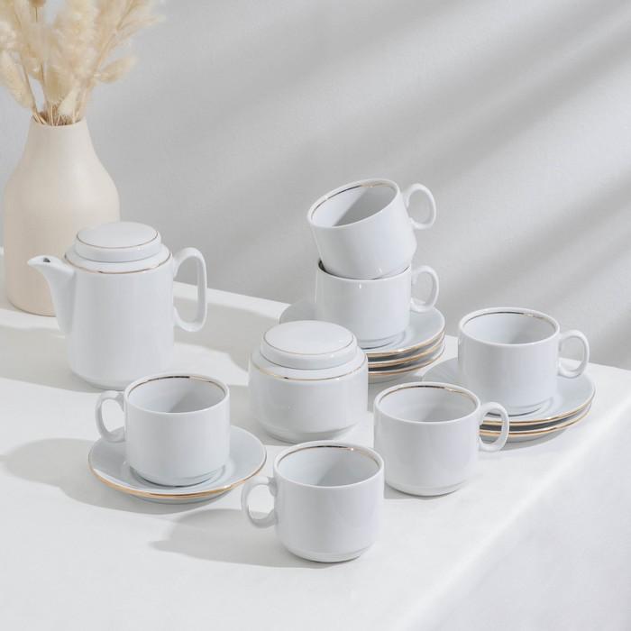 """Сервиз чайный """"Комфорт"""", 14 предметов: чайник 500 мл, 6 чашек 220 мл, 6 блюдец d=14 cм, сахарница 285 мл, без деколи"""