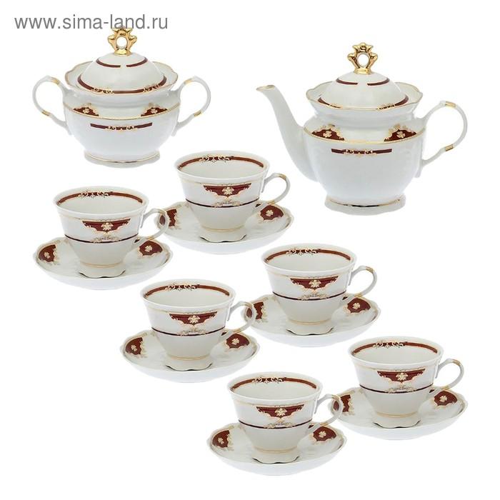 """Сервиз чайный """"Надежда. Барокко"""", 14 предметов: чайник 800 мл, 6 чашек 250 мл, 6 блюдец d=15 cм, сахарница 550 мл"""