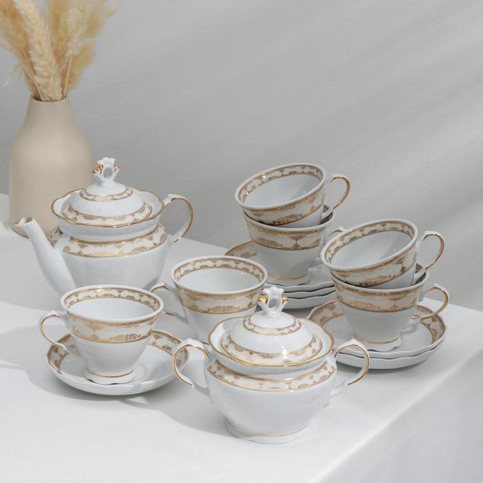 """Сервиз чайный """"Надежда. Стольный"""", 14 предметов:: чайник 800 мл, 6 чашек 250 мл, 6 блюдец d=15 cм, сахарница 550 мл"""