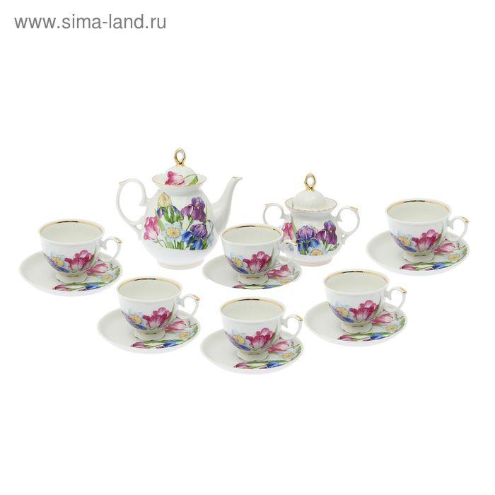 """Сервиз чайный """"Мария. Английская классика"""", 14 предметов: чайник 800 мл, 6 чашек 200 мл, 6 блюдец d=14 cм, сахарница 350 мл"""
