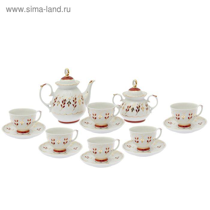 """Сервиз чайный """"Мария. Ритм-2"""", 14 предметов: чайник 800 мл, 6 чашек 200 мл, 6 блюдец d=14 cм, сахарница 350 мл"""