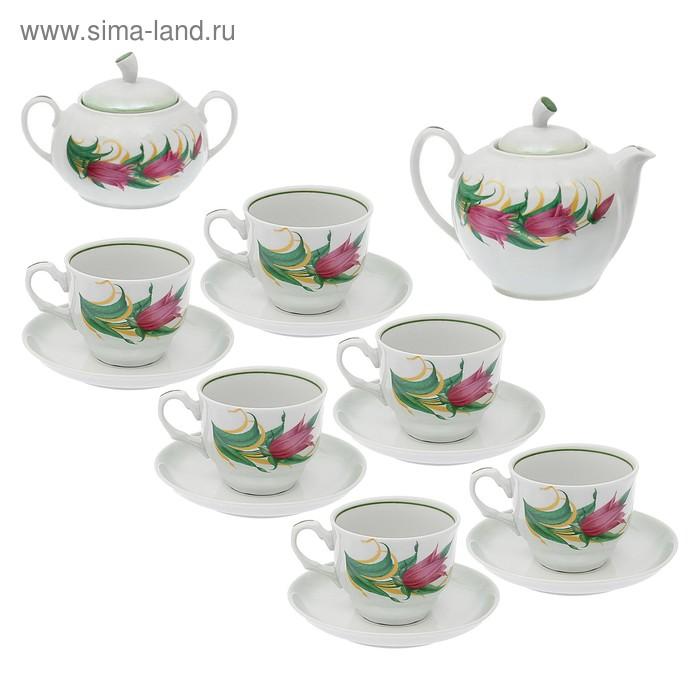 """Сервиз чайный """"Дыня. Колокольчики"""", 14 предметов: чайник 1 л, 6 чашек 220 мл, 6 блюдец d=14 cм, сахарница 600 мл"""