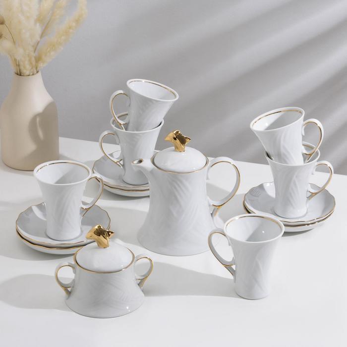 """Сервиз чайный """"Элегия"""", 14 предметов: чайник 600 мл, 6 чашек 220 мл, 6 блюдец d=15 cм, сахарница 250 мл"""