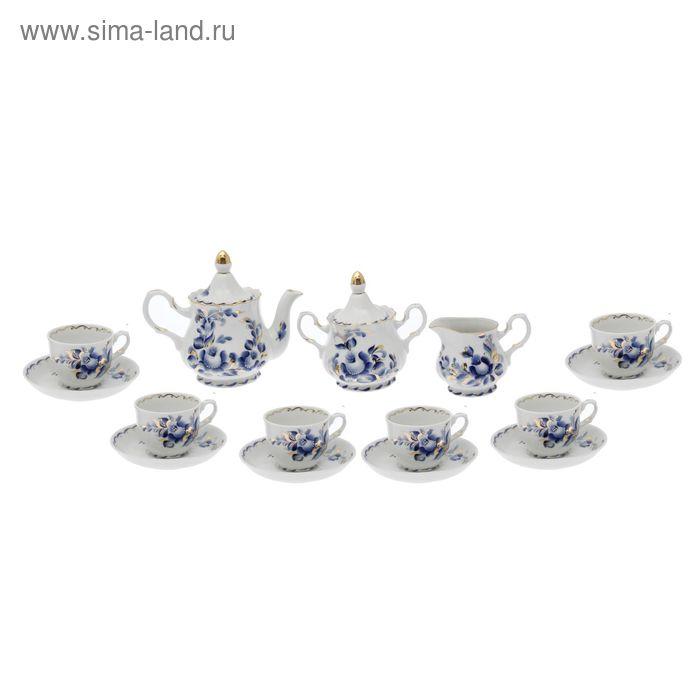 """Сервиз чайный """"Романс. Татьяна"""" 15 предметов: 6 чашек чайных 250 мл, 6 блюдец чайных d=15 см чайник 800 мл, сахарница 550 мл, сливочник чайный 350 мл"""