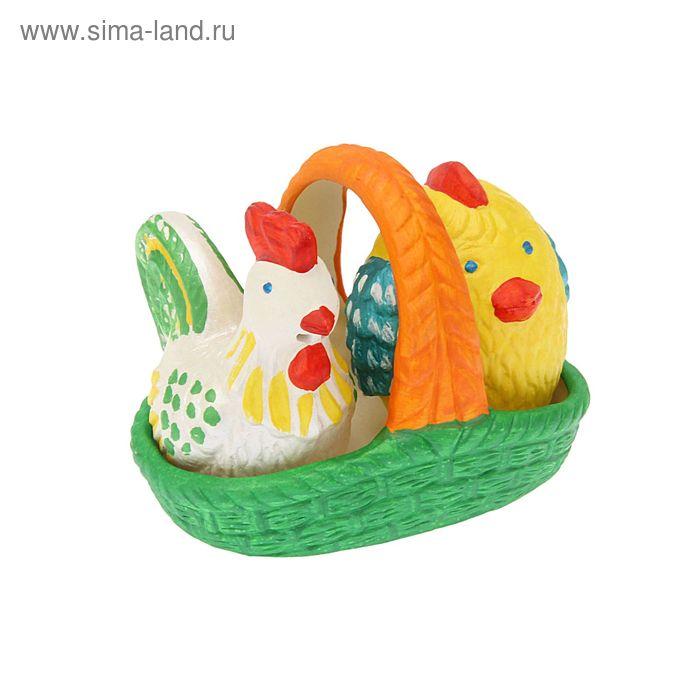 """Набор для специй """"Петушок и цыпленок в лукошке"""" 3 предмета"""