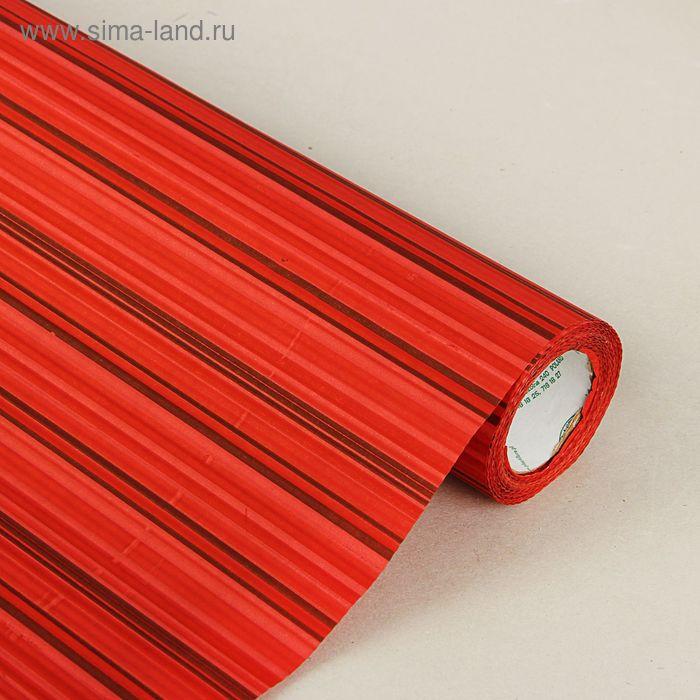 """Бумага упаковочная крафт """"Полоски люкс"""", красно-бордовый-золотой, 0.5 х 10 м"""