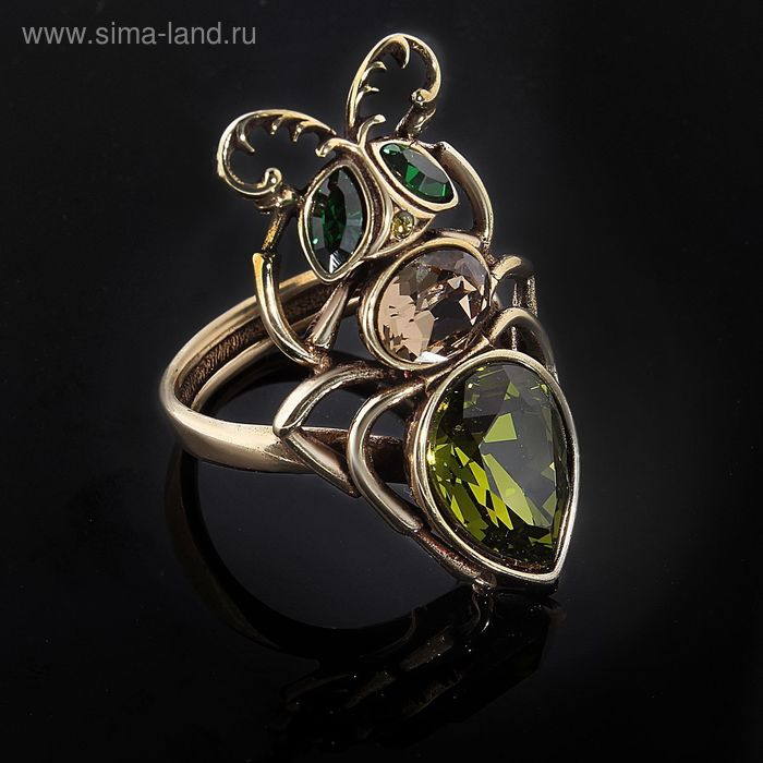 "Кольцо ""Муравей"", размер 18, цвет оливково-бронзовый"