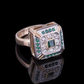 """Кольцо """"Юрстэ"""", размер 22, цвет бело-зеленый в золоте"""