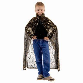 Карнавальный плащ 'Скелеты', золото на чёрном, прямой низ и воротник, длина 100 см Ош
