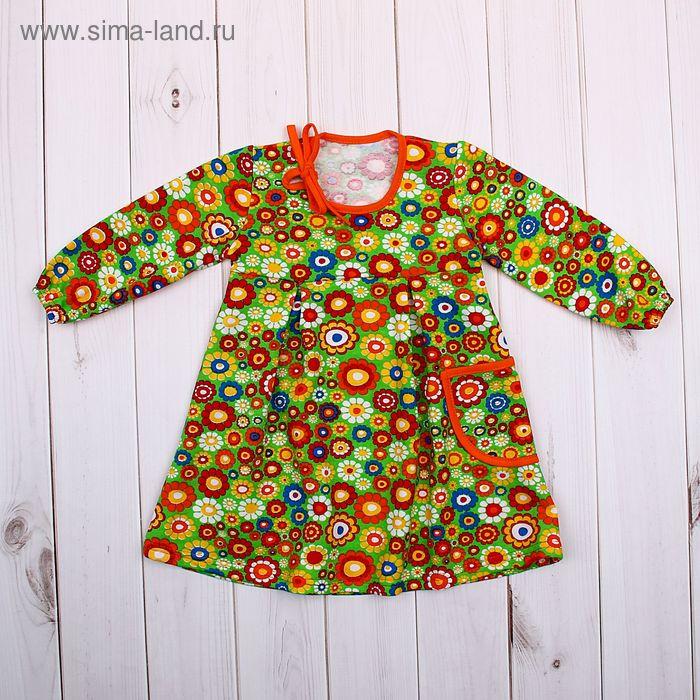 Платье для девочки, рост 74 см, цвет зелёный, принт цветы (арт. 711212-4_М)