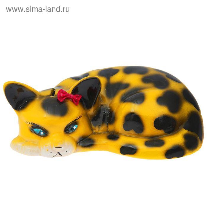 """Копилка """"Кот ленивец"""" глянец, жёлто-леопардовая"""