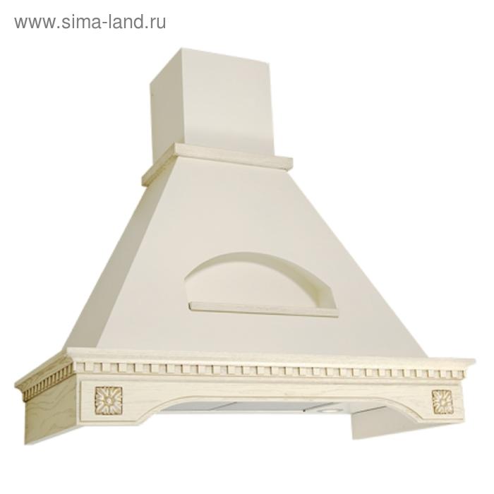 Вытяжка Elikor Бельведер Флореале 90П-650-П3Г, бежевый/дуб белый, патина, золото