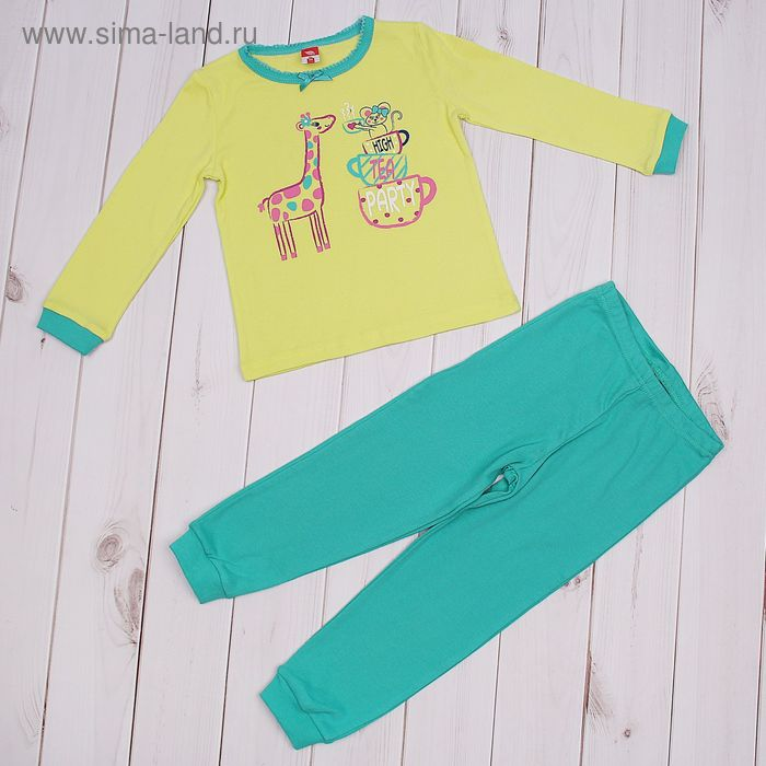 Пижама для девочки, рост 92 см (56), цвет салатовый/зелёный CAB 5243_М