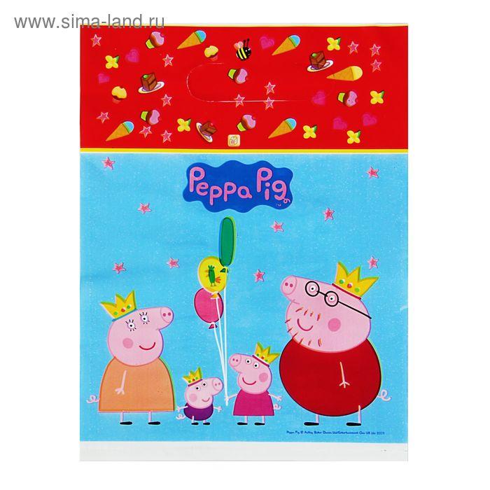 """Пакет """"Пеппа-принцесса"""", полиэтиленовый с вырубной ручкой, 27,5 х 19 х см, 30 мкм, Peppa Pig   15861"""