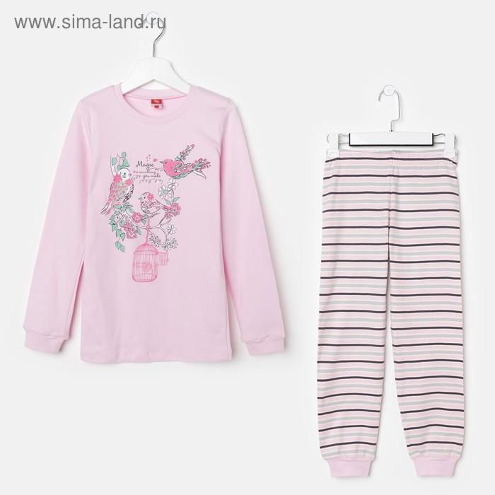 Пижама для девочки, рост 140 см (72), цвет светло-розовый CAJ 5280_Д