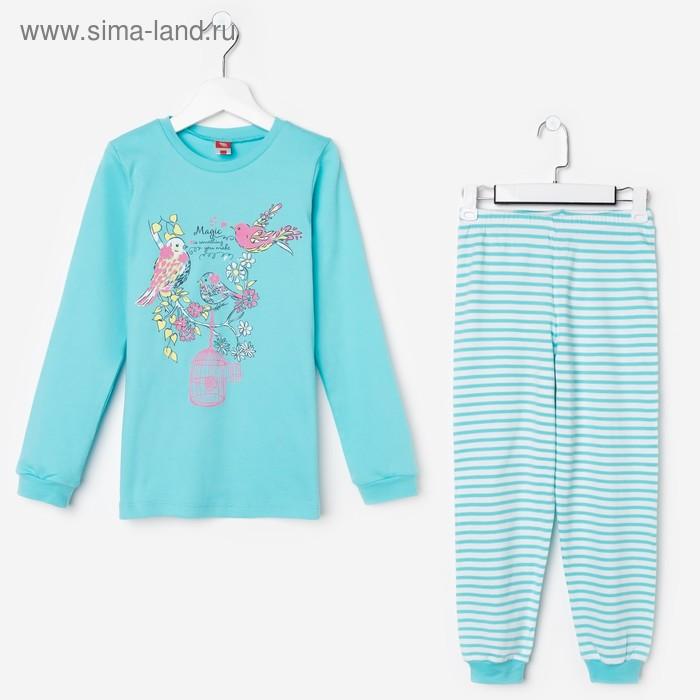 Пижама для девочки, рост 134 см (68), цвет бирюзовый CAJ 5280_Д