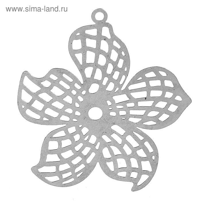 Декоративные филигранные элементы FDP-005, 40мм, цветок набор 2шт, под античное серебро