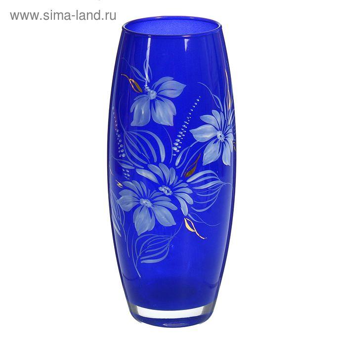 """Ваза """"Флора"""", художественная роспись, синяя"""