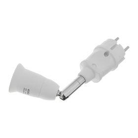 Переходник Ecola, вилка-патрон на шарнире, E27, 45х190 мм, 360°/180°, без выключателя, белый