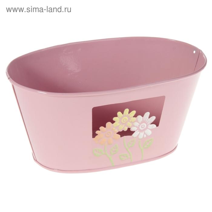 """Кашпо оцинкованное """"Цветочки"""" овальное, розовое"""