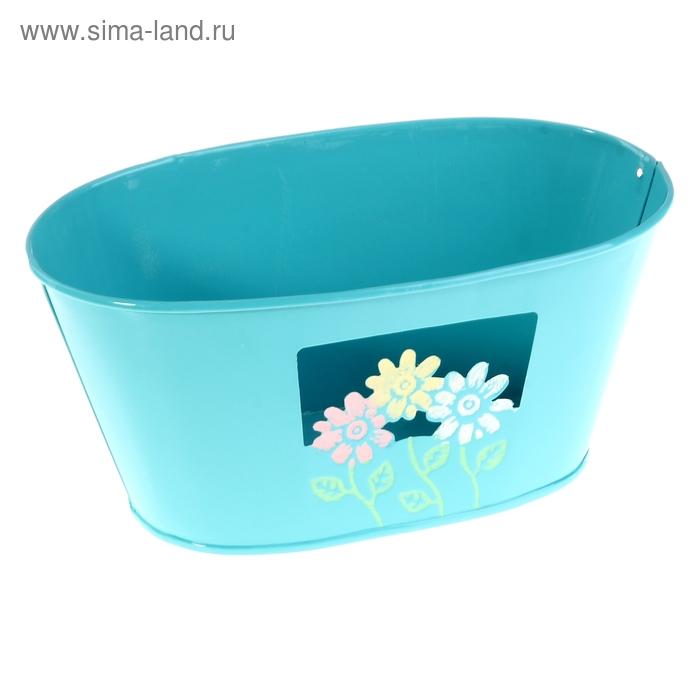 """Кашпо оцинкованное """"Цветочки"""" овальное, голубое"""