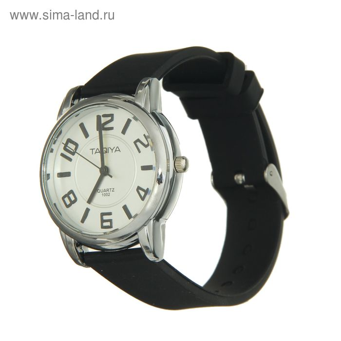 Часы наручные бел циферблат прорисов цифры м риски в круг, белый корпус, ремешок черн