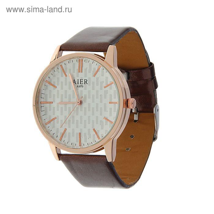 Часы наручные Aier, классика,накладные рискм,циферблат с узором, ремешок перлам. коричневый