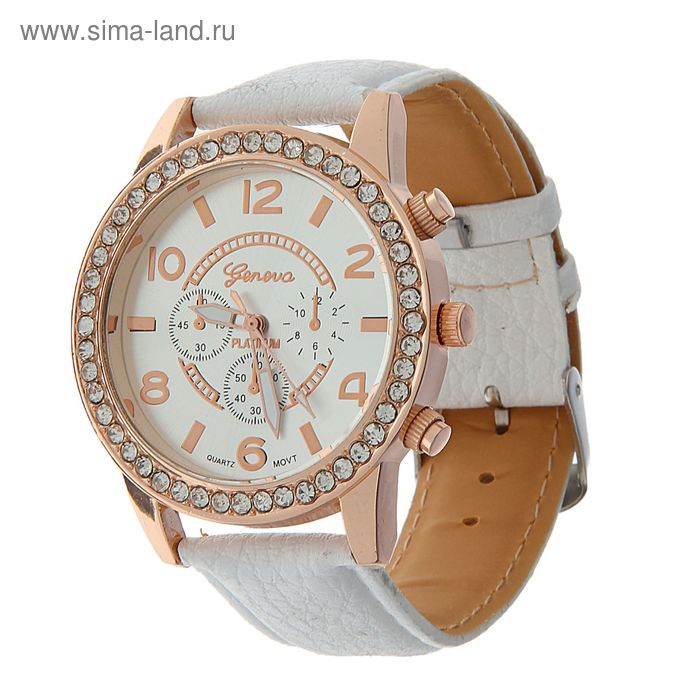 Часы наручные жен Geneva 4 циферблата, накл цифры и риски, корпус со страз, ремешок  белый