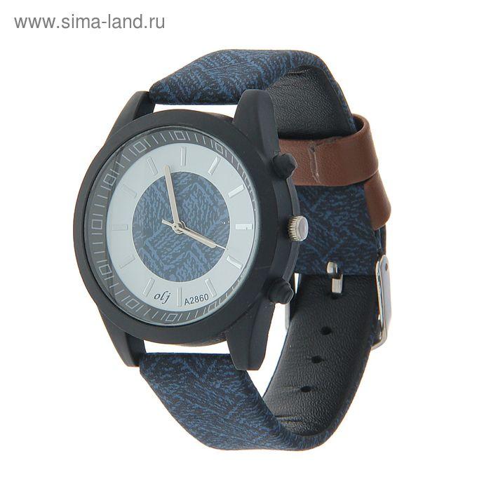Часы наручные мужские OLJ, ремешок с узором синий