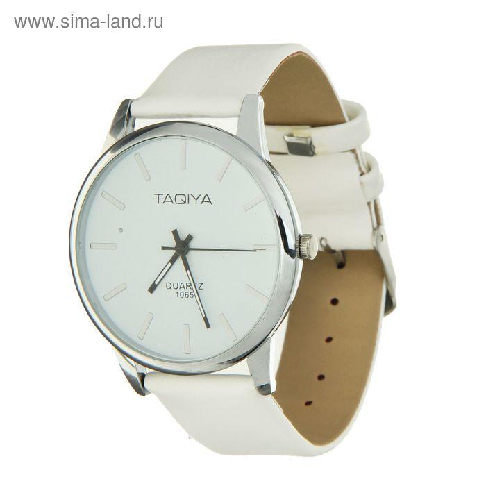 Часы наручные женские Taqiya, классика, риски, циферблат белый ремешок белый