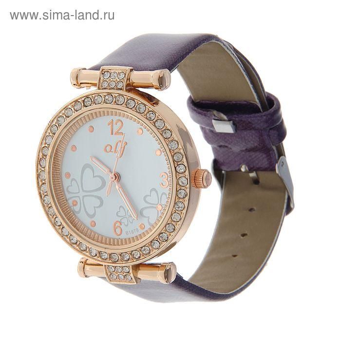 Часы наручные женские корпус стразы на циферблате узор, ремешок глянец сиреневый