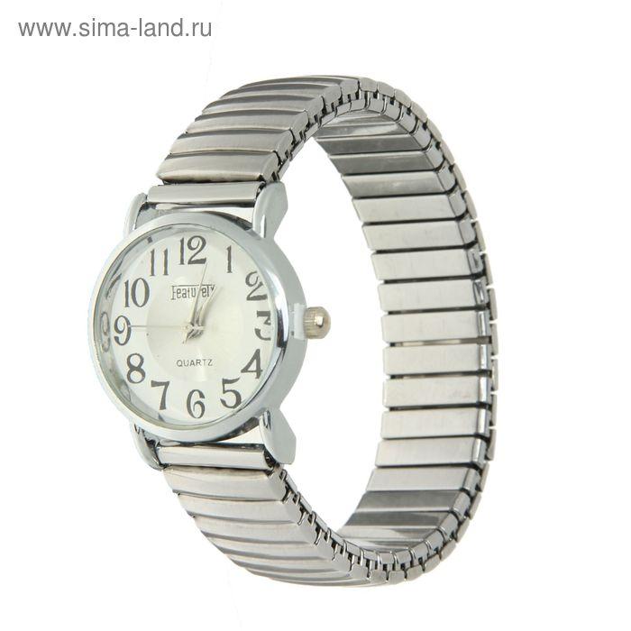 Часы наручные женские браслет-резинка белый корпус, перламутровый циферблат