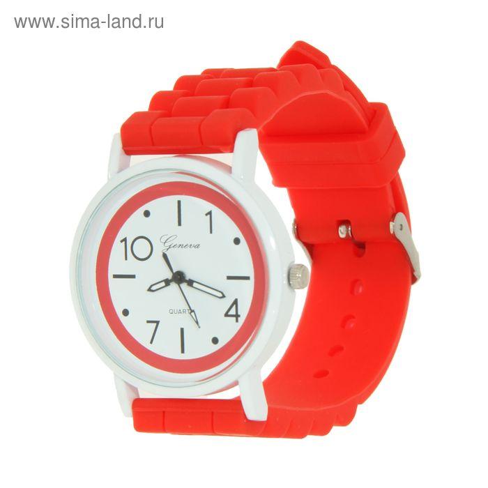 Часы наручные женские ремешок силикон цветной, корпус белый, ободок красный