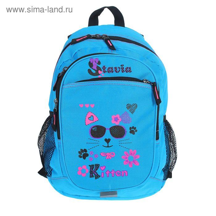 """Рюкзак молодёжный на молнии """"Очки"""", 2 отдела, 3 наружных кармана, голубой"""