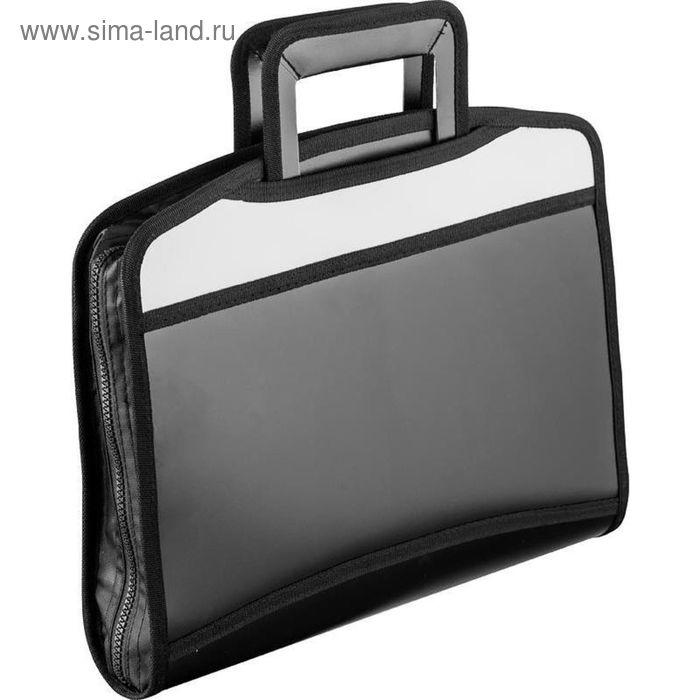 Папка-портфель пластиковая А4+ черная/серая, 275x350 мм, 5 отделений, с выдвижными ручками