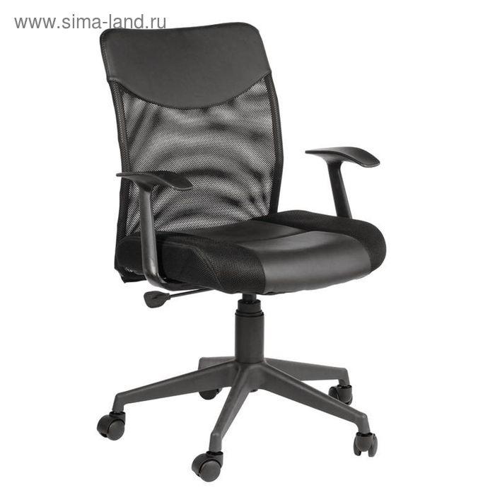 Кресло для руководителя EChair 631 TTW Low черное (ткань/искусств.кожа/сетка/пластик)