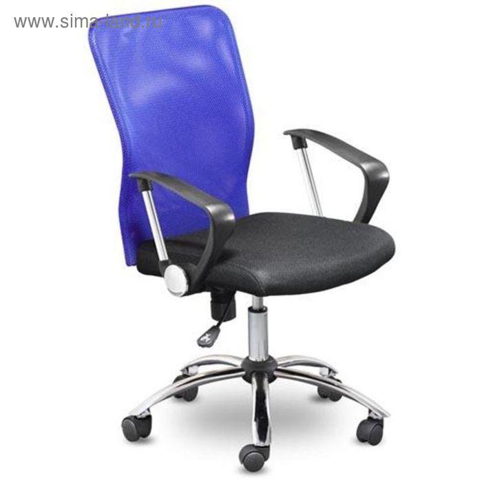 Кресло для оператора EChair-203 черное-синее (ткань, сетка, пластик, металл)